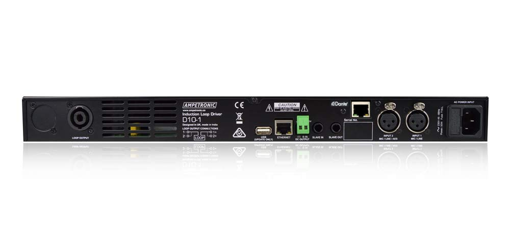 D10-1 Dante – networkable DSP hearing loop driver