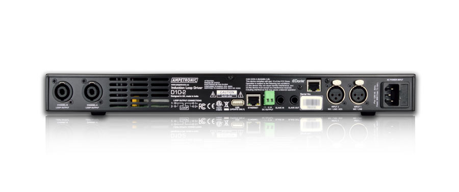 D10-2 Dante – networkable DSP hearing loop driver